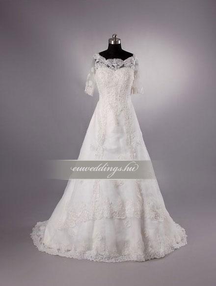 Menyasszonyi ruha A vonalú hosszú ujjú-AVH-245