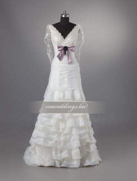 Menyasszonyi ruha A vonalú hosszú ujjú-AVH-255