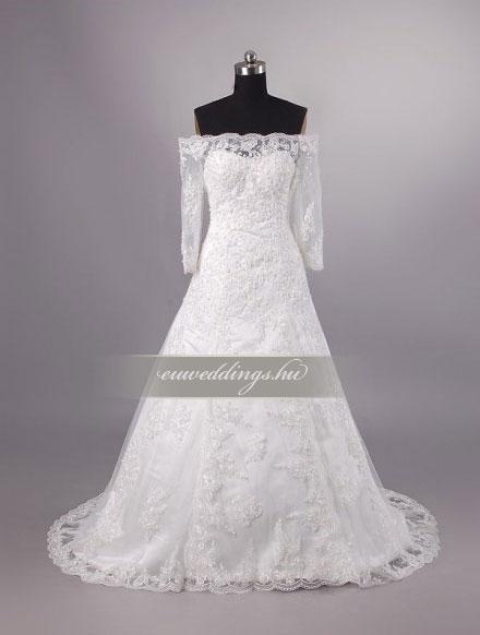 Menyasszonyi ruha A vonalú hosszú ujjú-AVH-260
