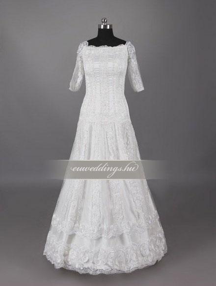 Menyasszonyi ruha A vonalú hosszú ujjú-AVH-288