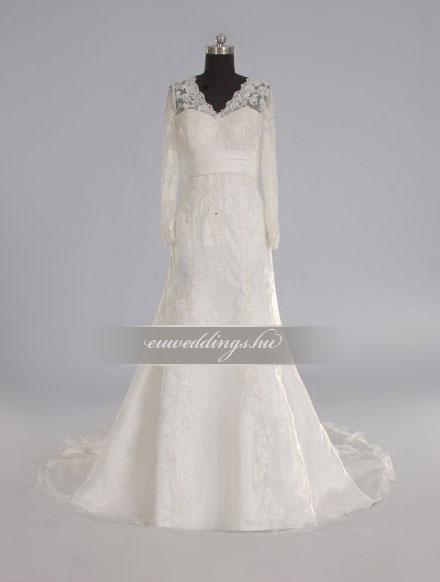 Menyasszonyi ruha A vonalú hosszú ujjú-AVH-332
