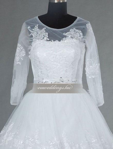Menyasszonyi ruha báli fazonú hosszú ujjú-BFH-3773