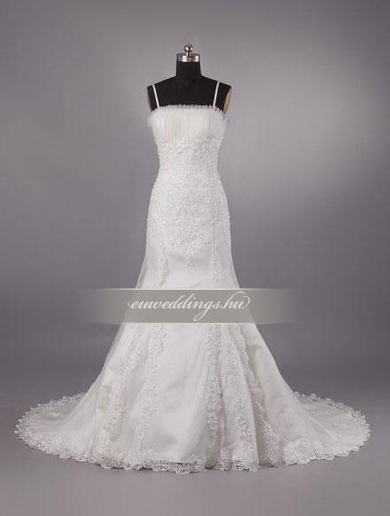 Menyasszonyi ruha csípőtől bővülő pántos-CBP-6697