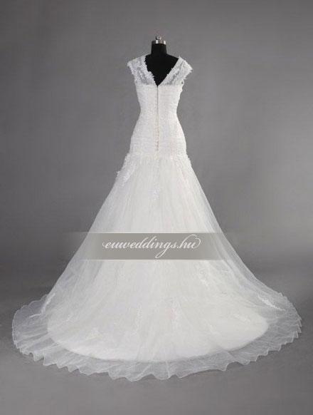 Menyasszonyi ruha csípőtől bővülő pántos-CBP-6784