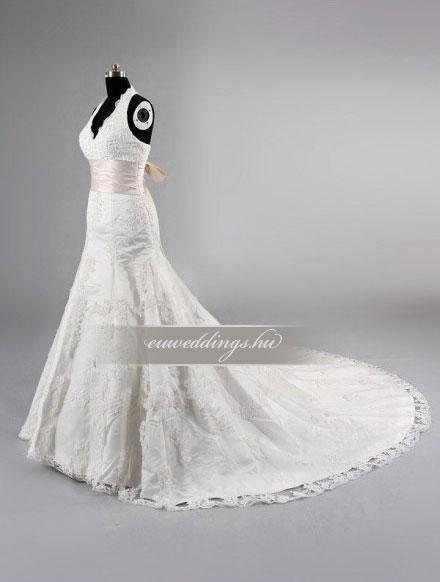 Menyasszonyi ruha csípőtől bővülő pántos-CBP-6806