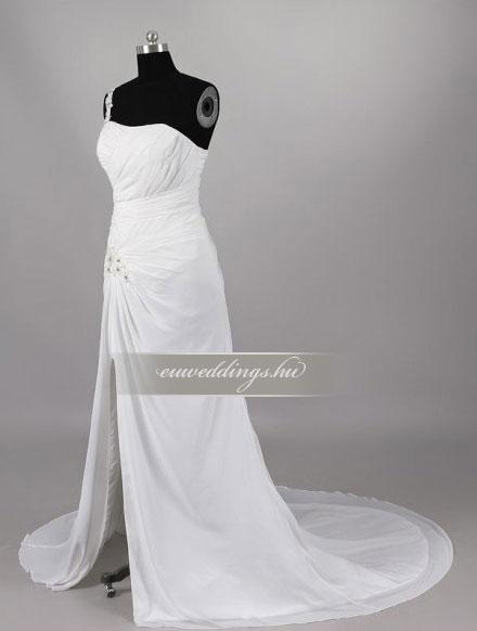 Menyasszonyi ruha csípőtől bővülő pántos-CBP-6910
