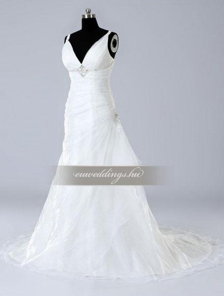 Menyasszonyi ruha csípőtől bővülő pántos-CBP-6954