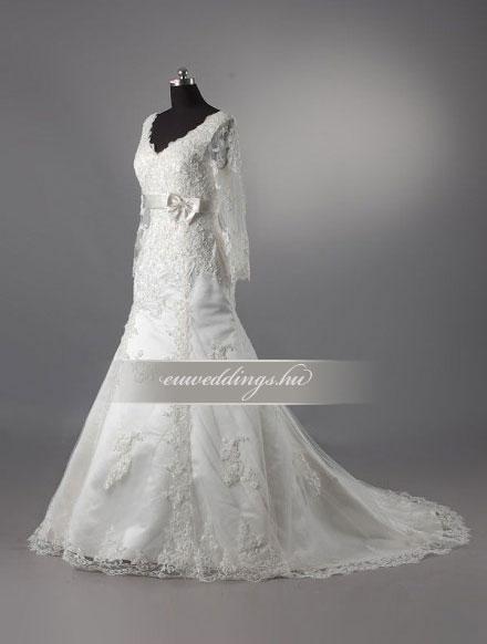 Esküvői ruha sellő fazonú hosszú ujjú-SFH-9952