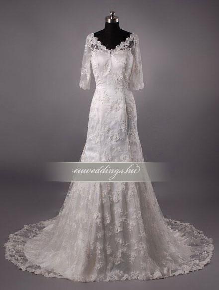 Esküvői ruha sellő fazonú hosszú ujjú-SFH-9977