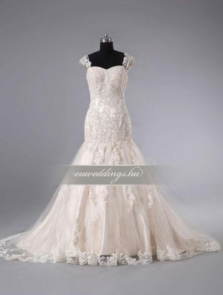 Menyasszonyi ruha sellő fazonú színes és mintás-SFS-10477